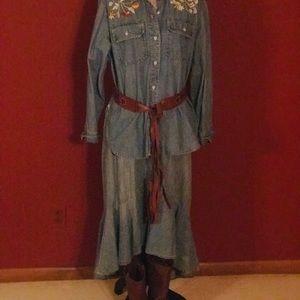 Ralph Lauren Jean Co. Denim High-Low skirt. NWT